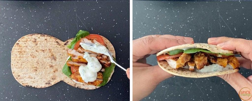 Tzatziki spooned over a pita sandwich