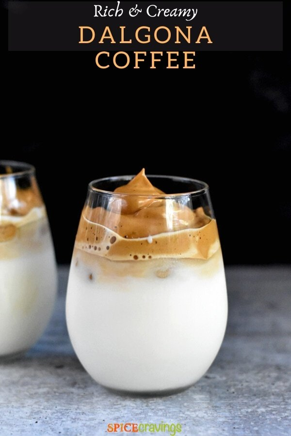 whipped coffee over milk in two glasses
