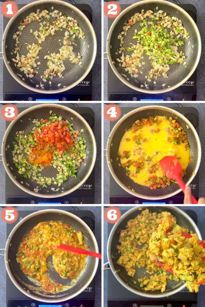 onions, chili, mushrooms, ginger, tomato in skillet, eggs scrambling in skillet process steps