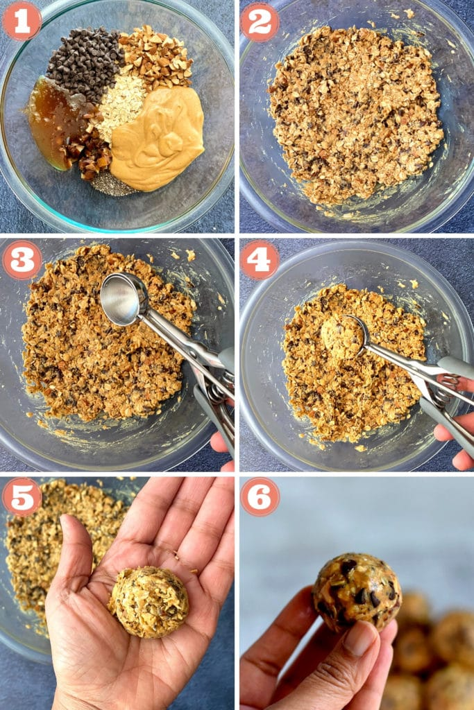 peanut butter, oats, chia seeds, almonds in bowl, energy bite mixture in glass bowl, scooping protein balls, healthy protein ball in hand, rolled energy ball