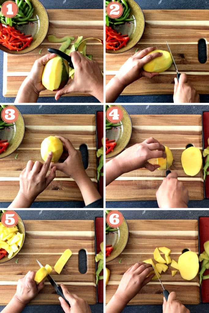 two hands peeling mango, slicing mango, two hands chopping mango into bite size pieces