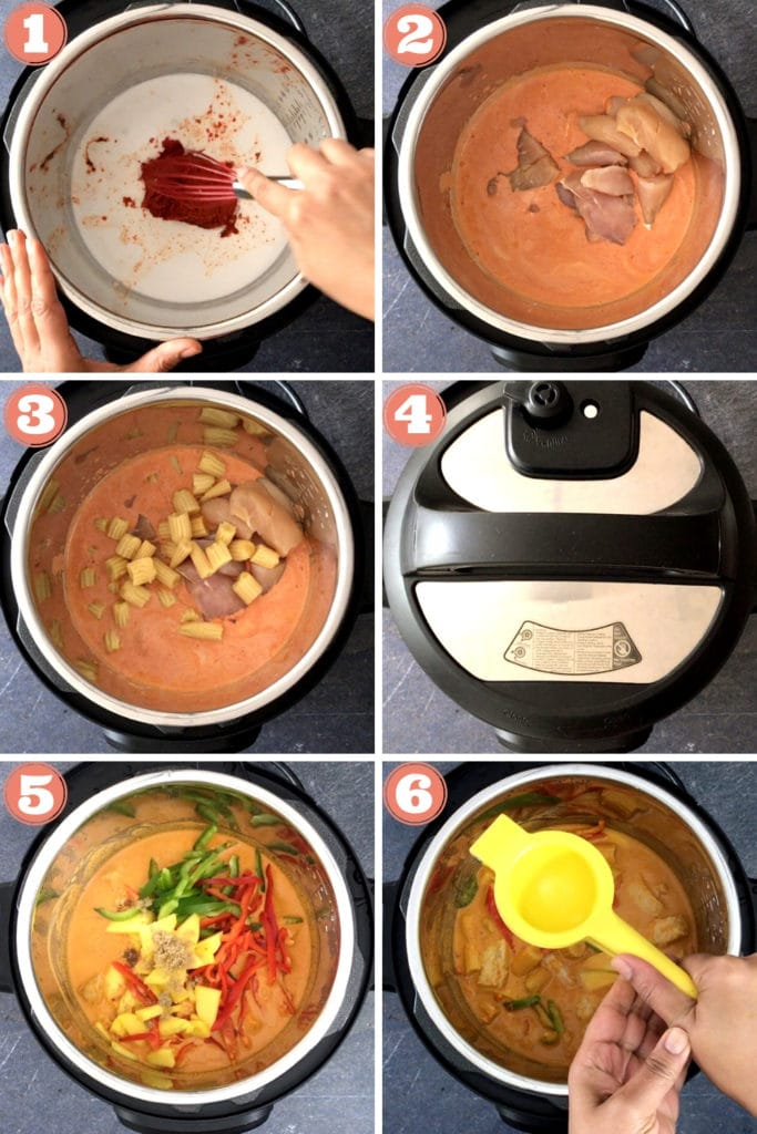 coconut milk and red curry paste in instant pot, chicken in red curry in instant pot, baby corn in curry, instant pot lid, mango, bell peppers and brown sugar, squeezing lime over instant pot
