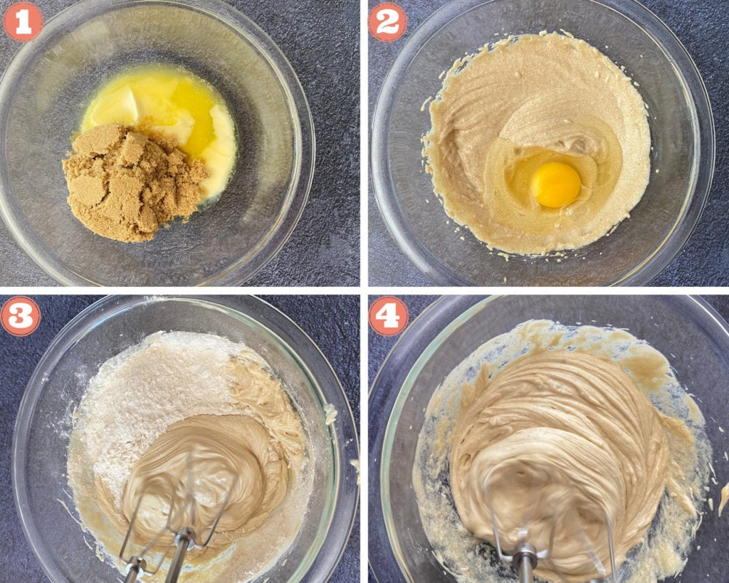 melted butter and brown sugar in glass bowl with egg, electric mixer mixing flour and sugar