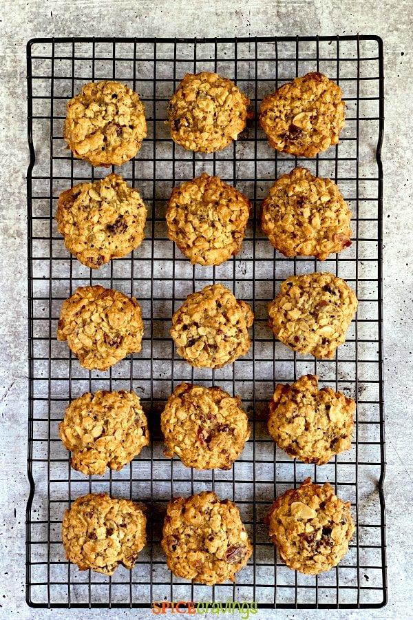 chewy cookies with rolled oats on cooling rack