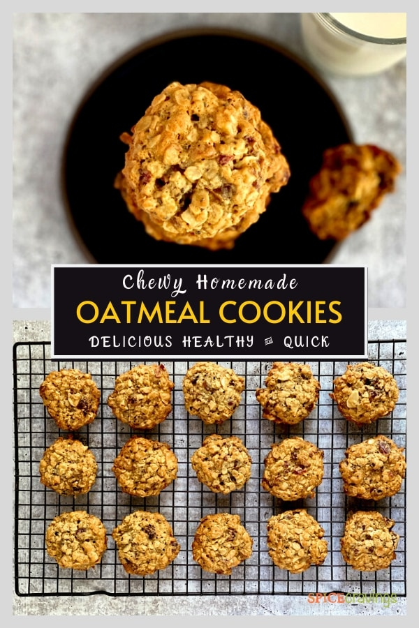 oatmeal cookies on black plate and cooling rack