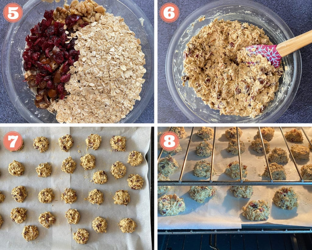 dried fruit and oats in glass bowl, spatula mixing cookie batter, cookies on baking sheet and baking in oven