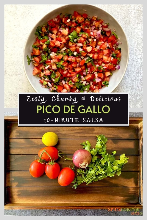 Two frames, top one showing a bowl of salsa, bottom showing ingredients
