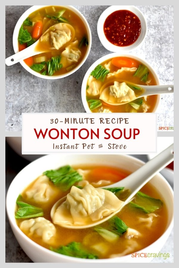 Two images of soup bowls with dumplings with spinach