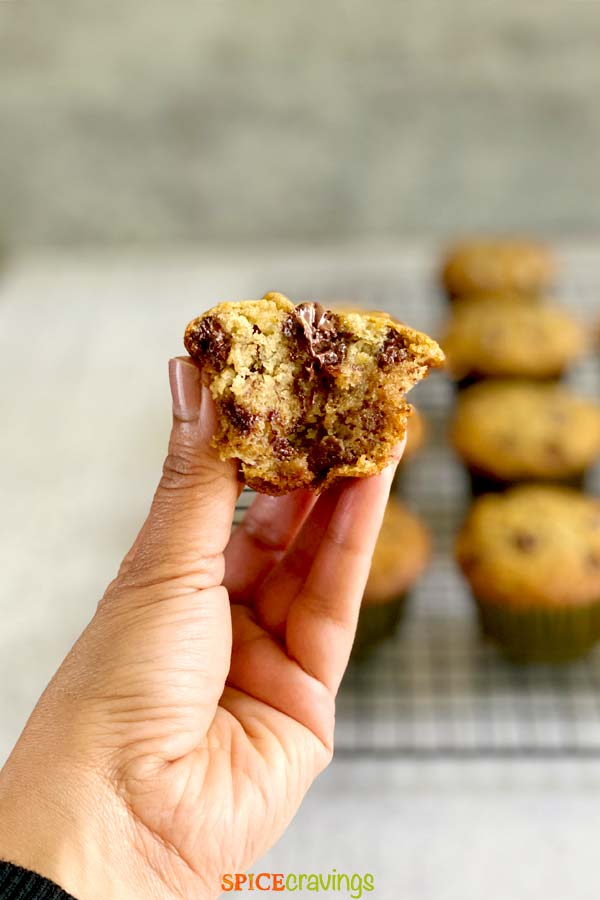 hand holding warm banana muffin with chocolate chips with bite