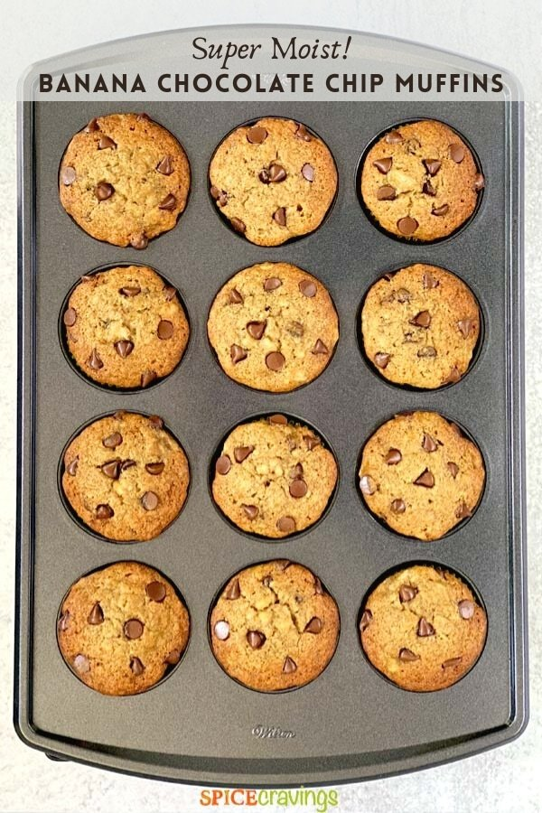 banana muffins with chocolate chips in muffin tin pinterest graphic