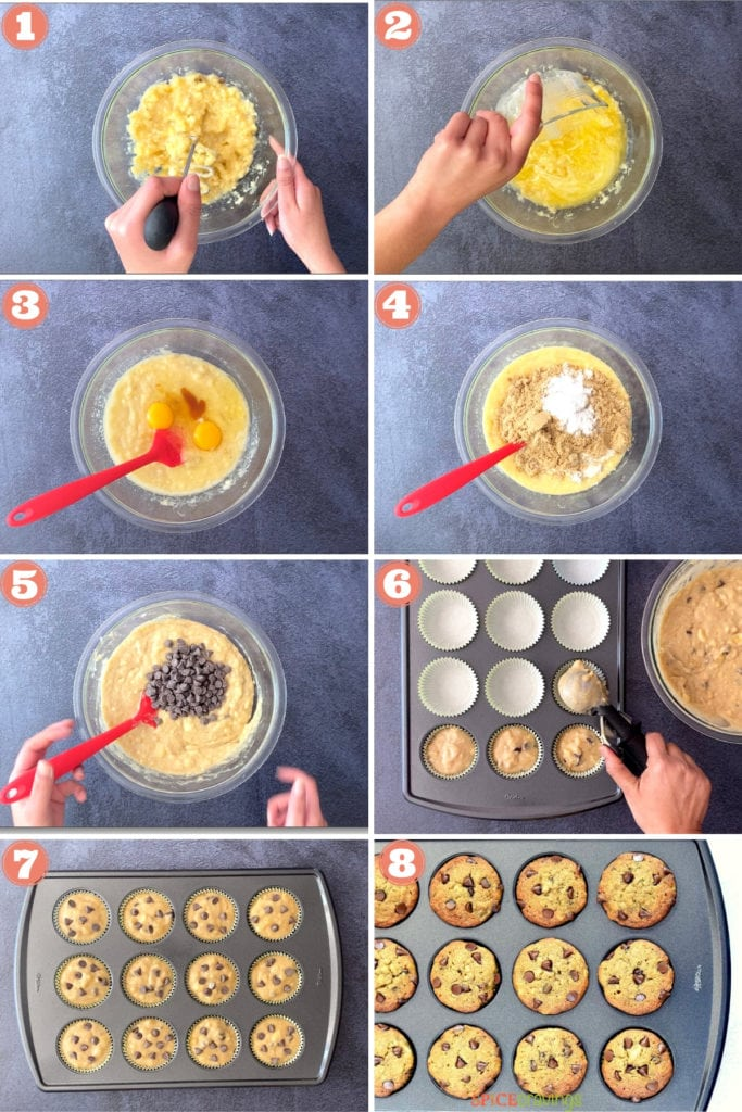 two hands mashing bananas, pouring in melted butter, mixing eggs, flour, chocolate chips with red spatula, scoop muffin batter into muffin tin, baked muffins