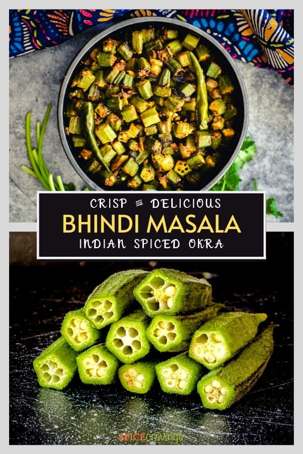 bhindi masala recipe in black bowl, fresh okra with stems removed