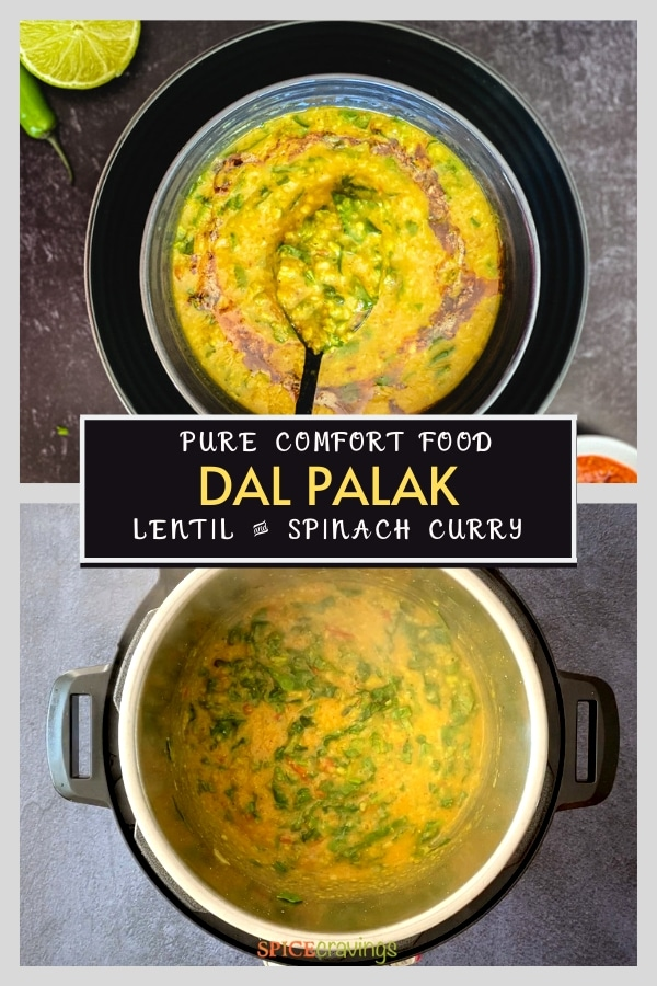 dal palak recipe pinterest graphic