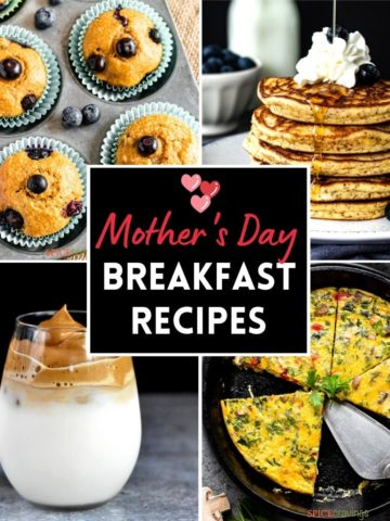 4-image grid including pancakes, muffins, coffee and egg bites