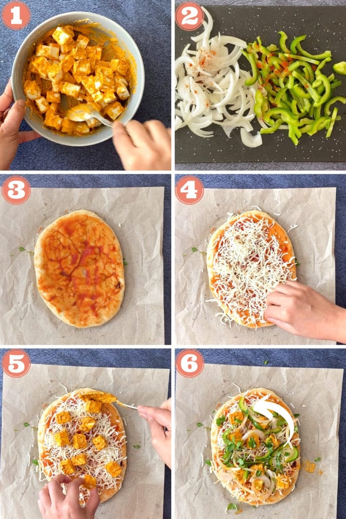marinated paneer, sliced onions and peppers, indian flatbread with sauce, cheese, paneer and veggies