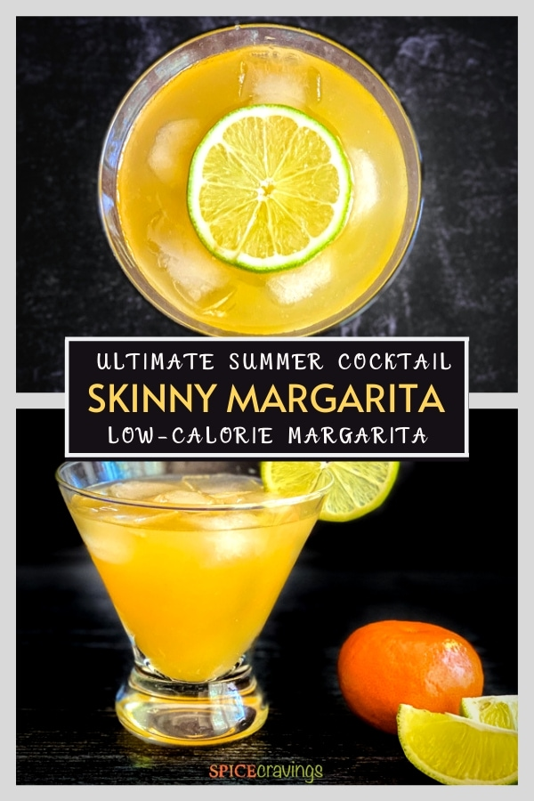 Top shot and side angle view of an orange drink in a glass with a lime wheel