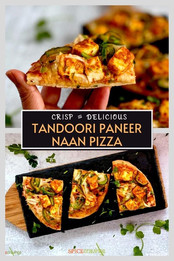 indian flatbread pizza with tandoori paneer pinterest graphic