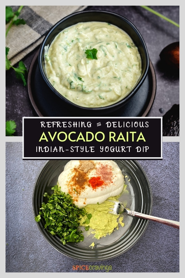 avocado raita recipe pinterest graphic
