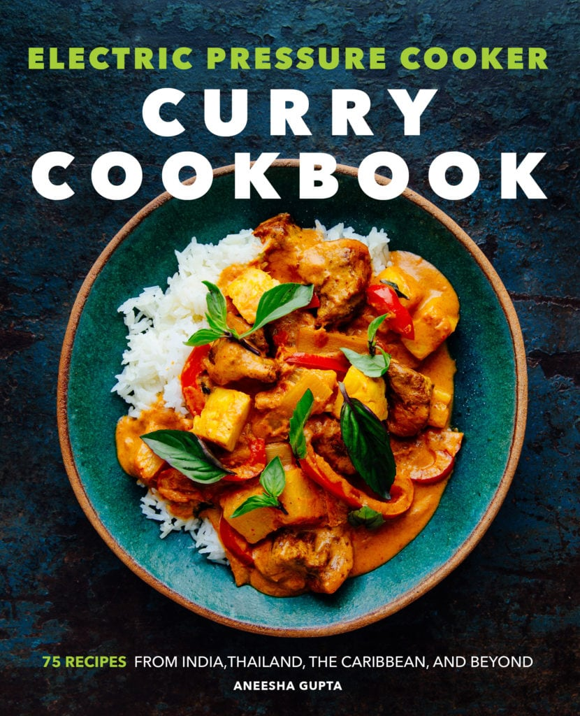 Cover photo of Curry Cookbook with a bowl with chicken, peppers and basil