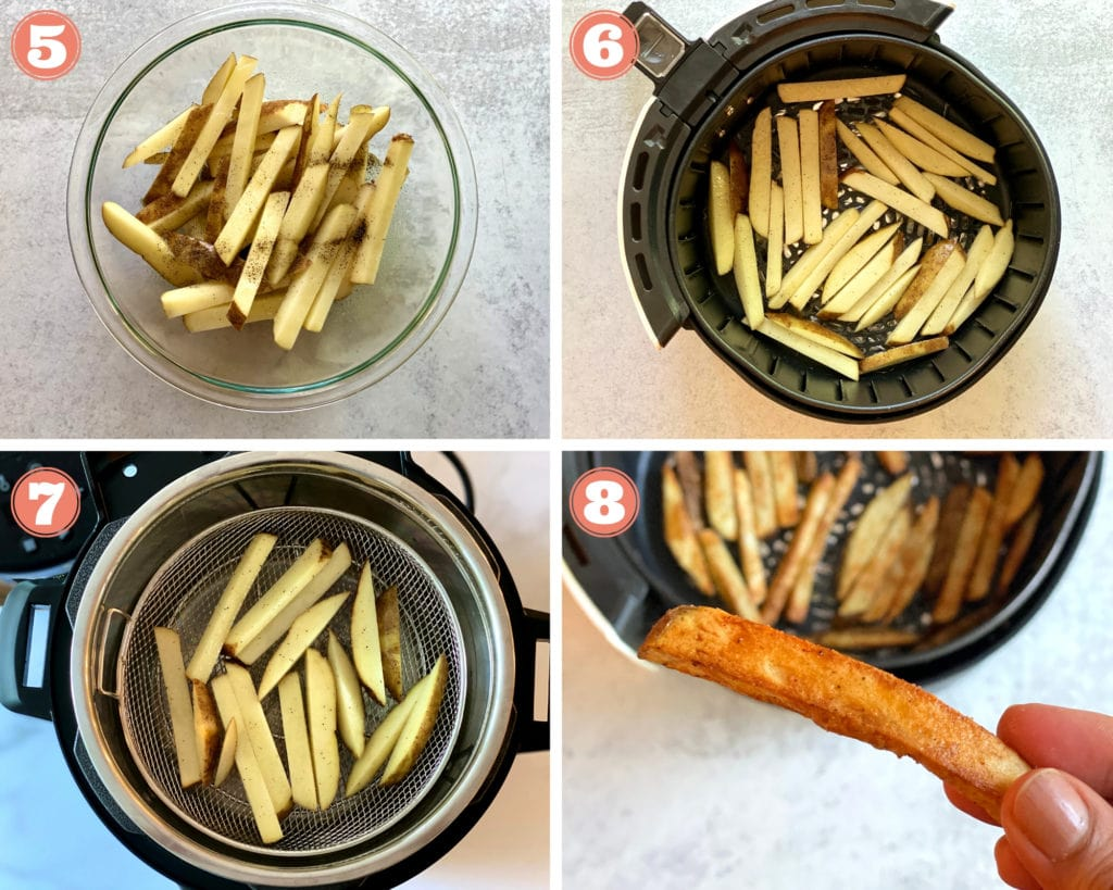 seasoned sliced potatoes in glass bowl, potatoes in air fryer basket and mesh basket, hand holding french fry