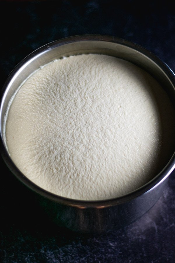 fermented batter for idli and dosa in stainless steel bowl