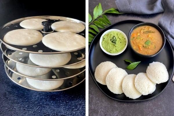 idli on steamer rack, idli on black plate with chutney