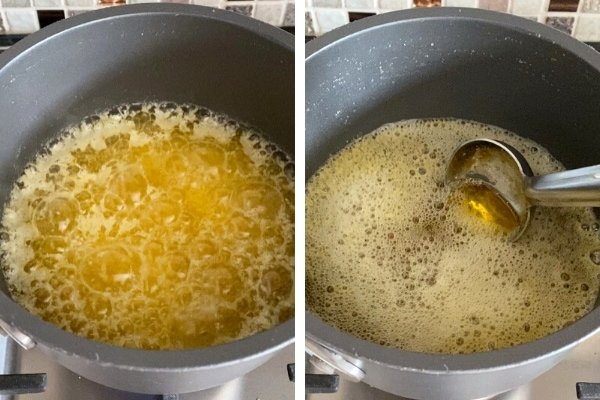 melted butterfat with caramelized milk solids in saucepan with ladle