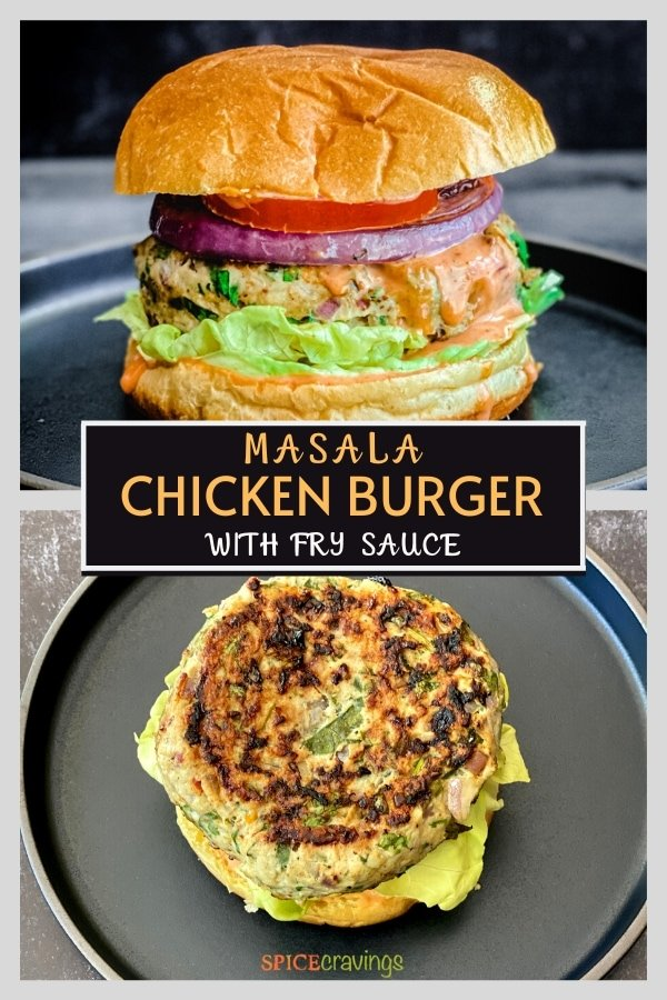 masala chicken burgers pinterest graphic