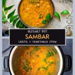 instant pot sambar recipe pinterest graphic