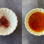 Bowl of dry saffron on the left and soaked saffron on the right