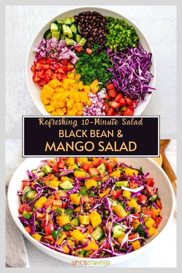 diced vegetables in white bowl, tossed black bean mango salad in white bowl