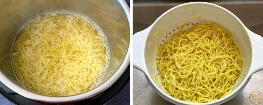 boiling chinese noodles in instant pot, rinsed noodles in white colander