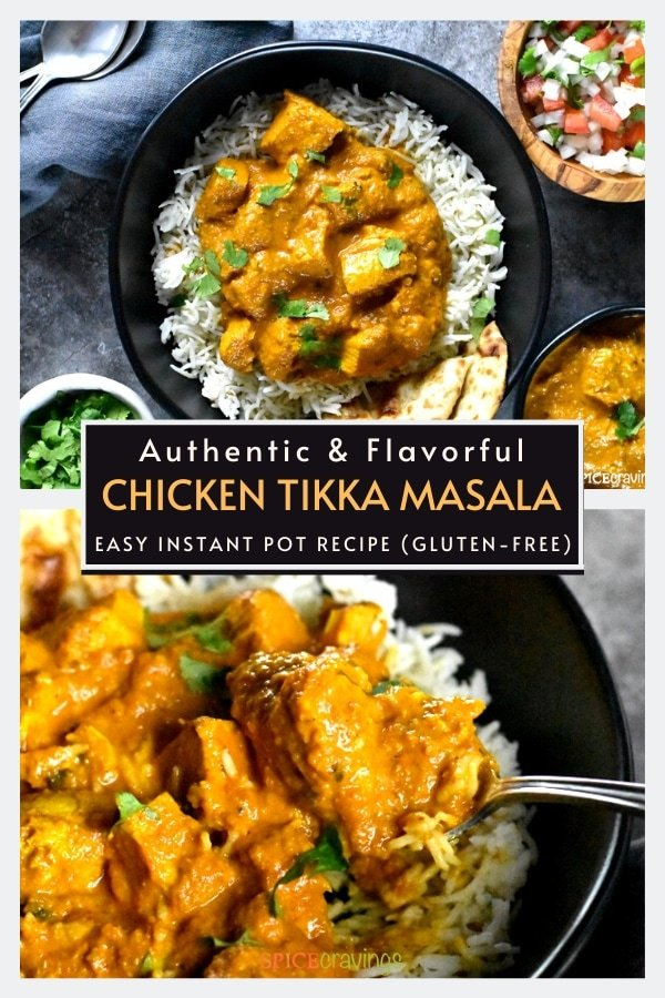 Two shots of chicken tikka masala with rice in a black bowl