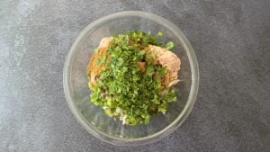 ground chicken, taco seasoning, onions, peppers, cilantro in glass bowl