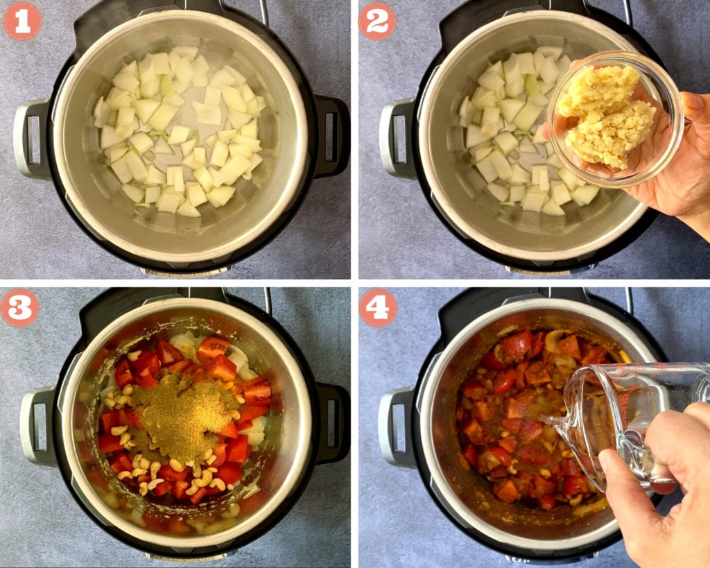 Photo grid showing steps of sauteing onions, tomato in the instant pot