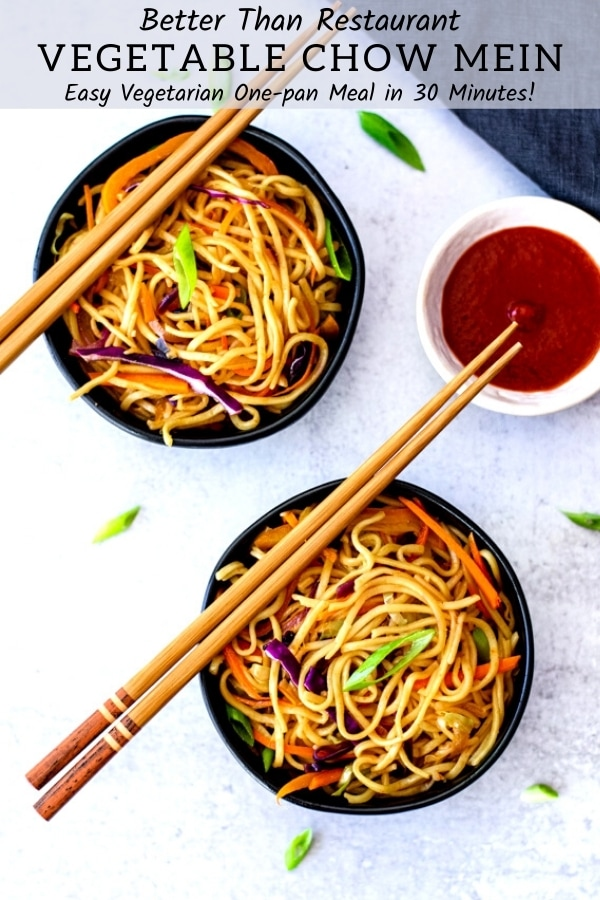 two small bowls vegetable chow mein with chopsticks and sauce on side