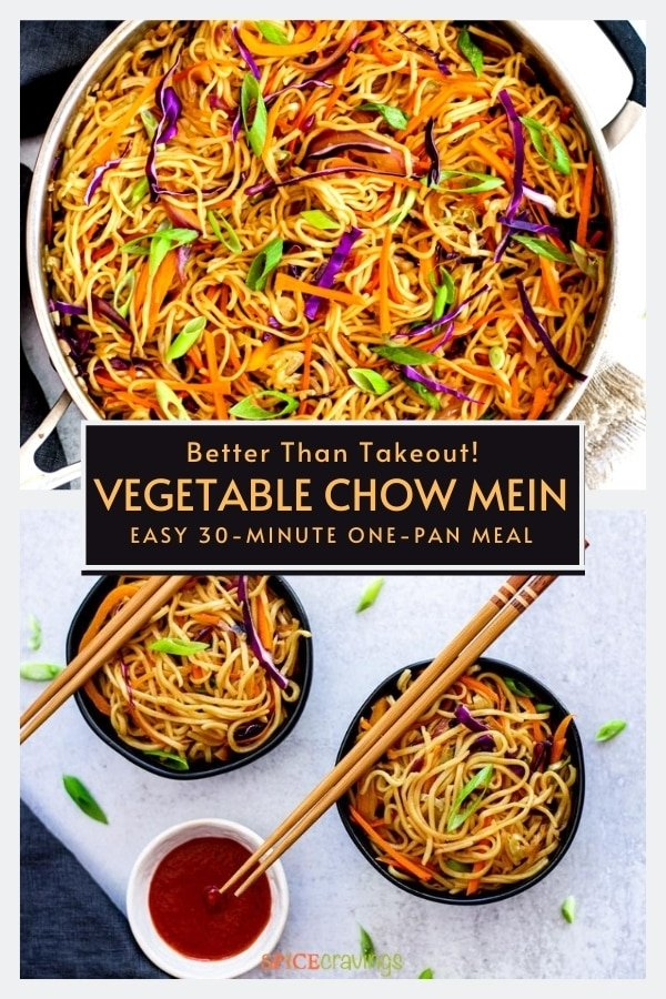 sitr fried chinese noodles with vegetables in stainless steel chef pan, two small bowls vegetable chow mein with chopsticks