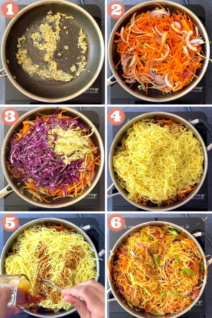 stir frying garlic, ginger, onions, carrots, cabbage and noodles, tossing with Asian sauce in skillet