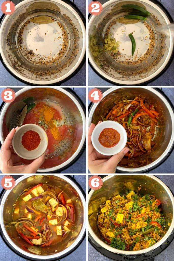 6-photo grid showing steps to make paneer biryani in instant pot