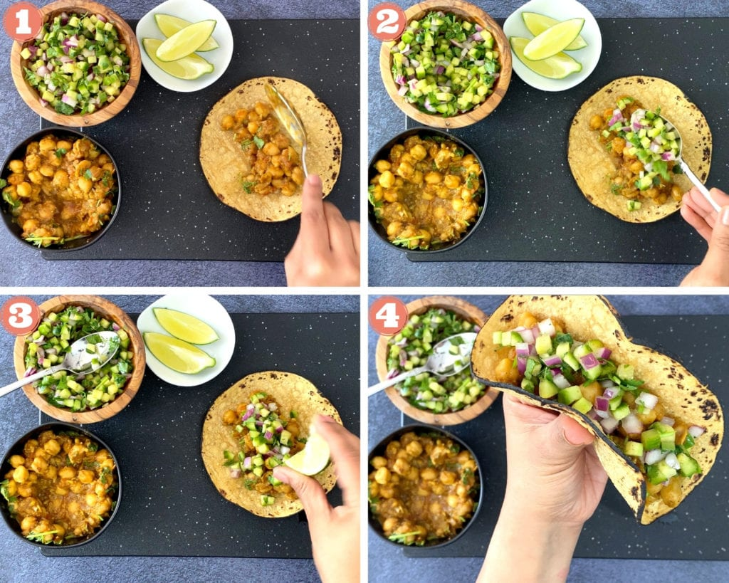 hand filling corn tortilla with chickpea curry filling, topping with cucumber salsa, squeezing lime, hand holding filled indian chickpea taco
