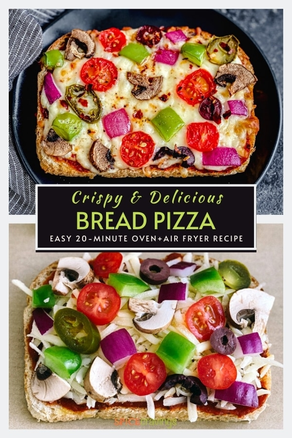 easy pizza bread recipe with fresh vegetables on black plate with blue napkin and on parchment paper