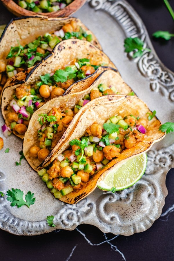 easy Indian chickpea tacos on silver serving platter