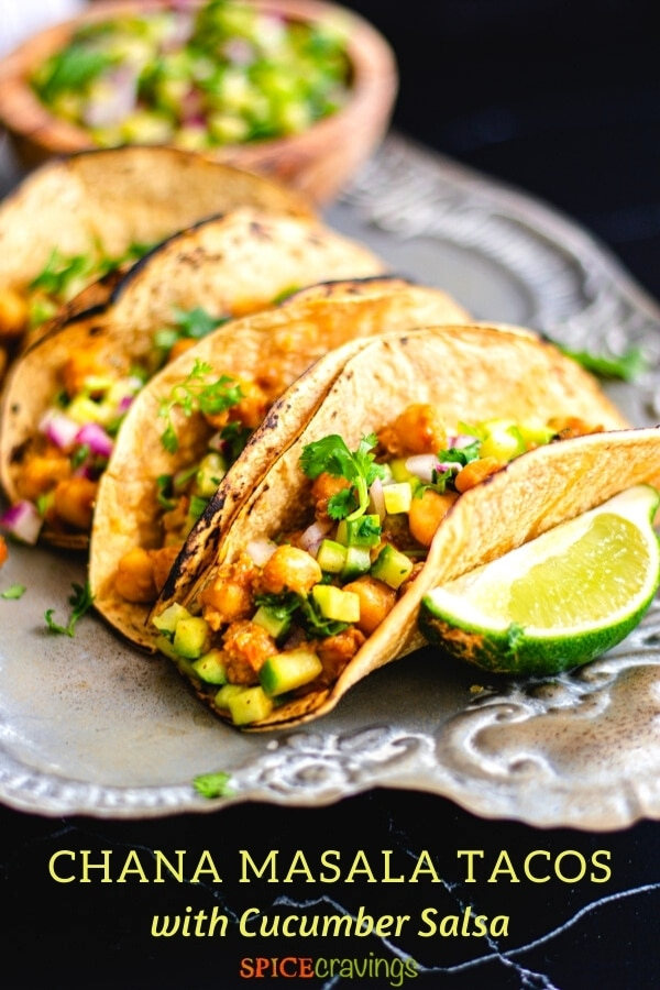 easy Indian chickpea tacos on silver serving platter with lime wedge