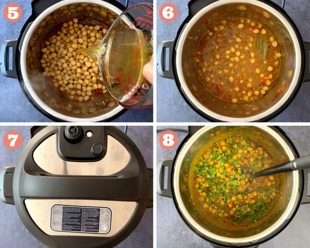 pouring water over chickpeas, chana masala filling in instant pot, instant pot lid, chana masala finished with cilantro