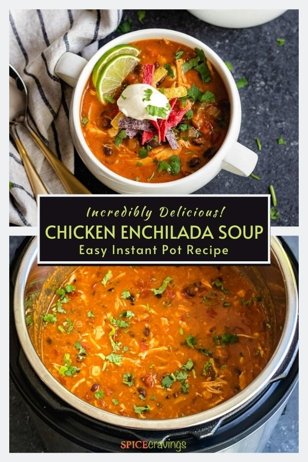 mexican soup recipe with enchilada sauce and chicken in white soup crocks and instant pot