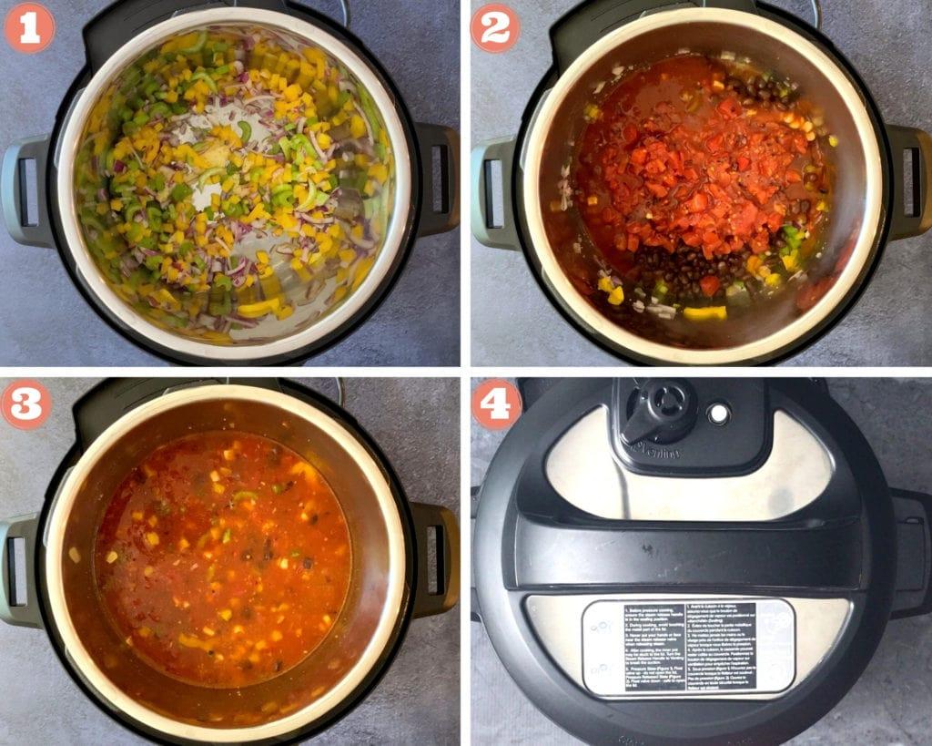 grid shot of four steps beginning chicken enchilada soup recipe