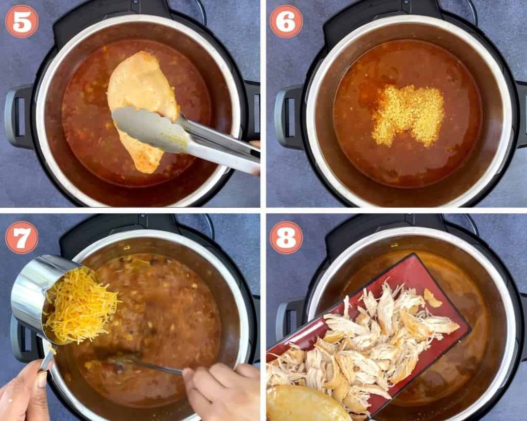 grid shot of four steps finishing chicken enchilada soup recipe