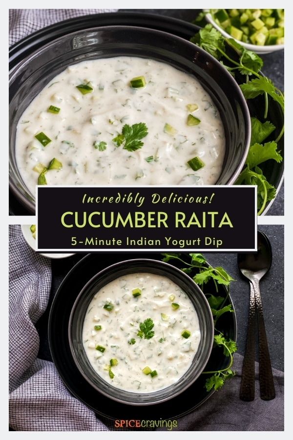 easy cucumber yogurt dip in black bowl over black plate with fresh cilantro sprigs