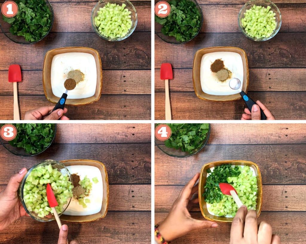 grid shot of steps to make homemade cucumber raita recipe