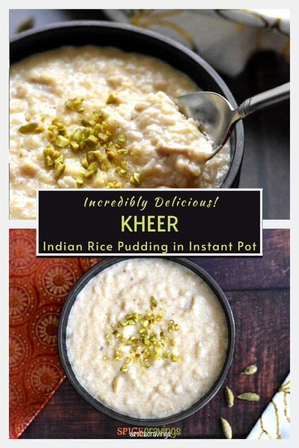 A bowl of creamy rice pudding, called Kheer, garnished with chopped pistachios